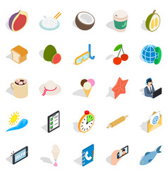 Luncheon icons set isometric style vector