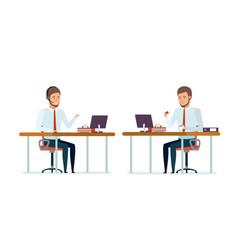 manager advises clients video conferences vector image