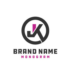 Monogram logo design letter jk vector