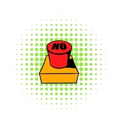 No red button icon comics style vector