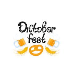 Oktoberfest mug of beer pretzel - national vector