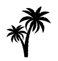 palm tree black outline silhouette stock vector image