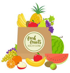Paper bag with fruits vector