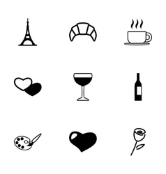 paris icon set vector image