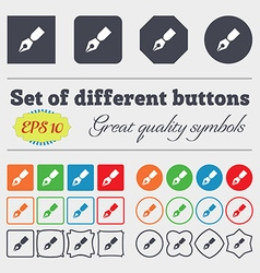 Pen icon sign Big set of colorful diverse vector