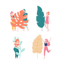 people and big leaves loving nature concept vector image