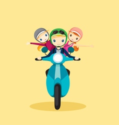 People on motorcycle driving to travel vector image