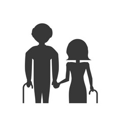 pictogram grandparents elderly cane vector image