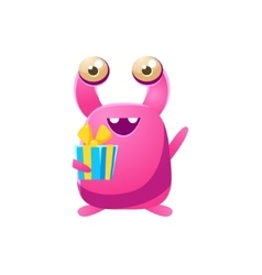 Pink Toy Monster With Birthday Present vector