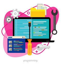 programming concept trendy bright ameoba vector image