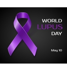 Purple Lupus awareness ribbon isolated on black vector