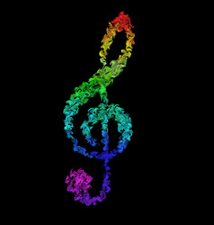 rainbow colored music note - burning smeared color vector image