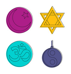 religious sign icon set color outline style vector image