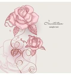 Retro flowers romantic roses vector image