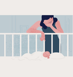 Sad tired woman leaning over newborn basleeping vector