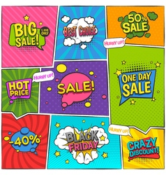 Sale Comic Page Design vector image