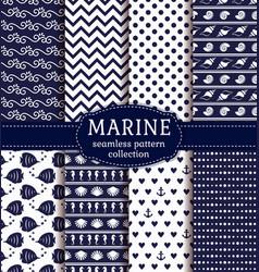 sea and nautical seamless patterns set vector image