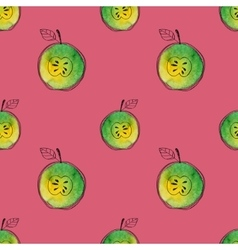 Seamless pattern of watercolor green apple vector image