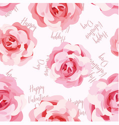 seamless pattern roses happy valentines day vector image
