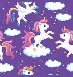 Seamless pattern unicorns on purple background vector