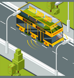 self driving car autonomous vehicle at road vector image