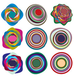 Set mottled multi color and colorful spiral vector