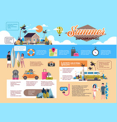 set summer vacation infographic shedule surf bus vector image