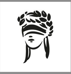 Sitting symbol of justice themis face line vector