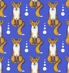 Sketch Fox seamless pattern vector image
