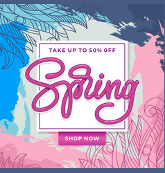 spring sale banner with hand sketched floral vector image