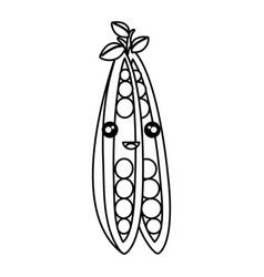 string bean fresh vegetable kawaii character vector image