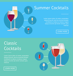 summer classical cocktails on web posters drinks vector image