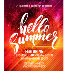 Summer party pster with palm leaf and lettering vector