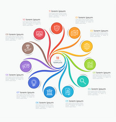 swirl style infographic template with 11 options vector image