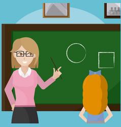 Teacher giving a class to school girl vector