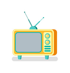 television with antenna old fashioned tv set icon vector image