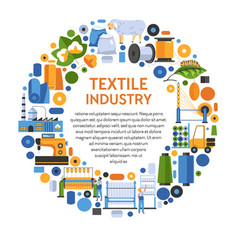 Textile industry banner with icons set in circle vector