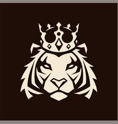 Tiger in crown mascot vector