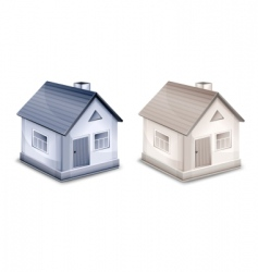two small village houses vector image
