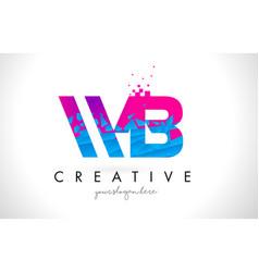 wb w b letter logo with shattered broken blue vector image