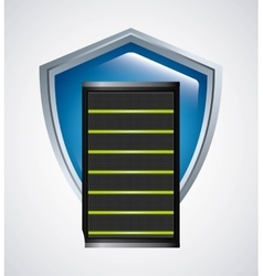 Web hosting and shield icon Data center design vector image
