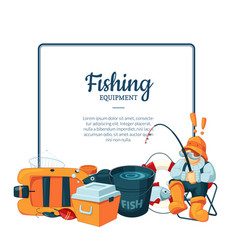 with cartoon fishing equipment vector image
