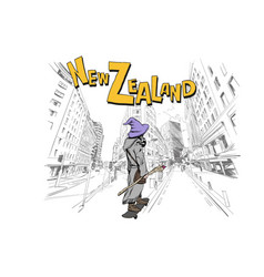 Wizard is riding on skateboard in city wellington vector