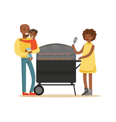 young black woman grilling sausages on a grill for vector image