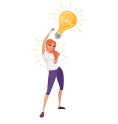 Young happy woman with upraised hand has an idea vector