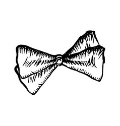bow tie sketch icon on white background vintage vector image vector image