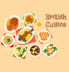 British cuisine tasty dishes icon for menu design vector