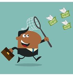 Business Man Chasing Money Cartoon vector image vector image