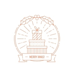 Christmas and Year creative badge with gift boxes vector image vector image