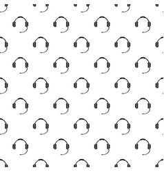headphones with microphone pattern seamless vector image